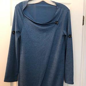 Blue cowl neck top